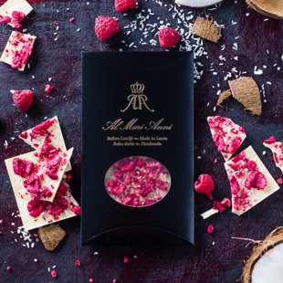 White chocolate with freeze-dried raspberries and delicate coconut flakes