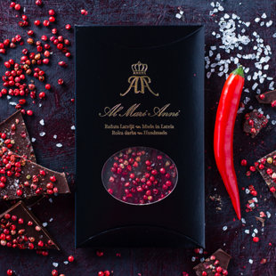 Dark chocolate with sea salt, pink pepper and hot chilli pepper