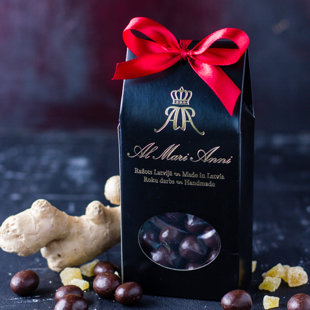 Candied ginger in dark chocolate